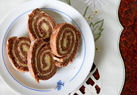 Drömtårta, chokladrulltårta med fyllning av smörkräm. dromtarta.jpg