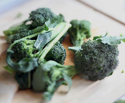 Broccolibuketter och blad på skärbrädan. prodipe-192.jpg