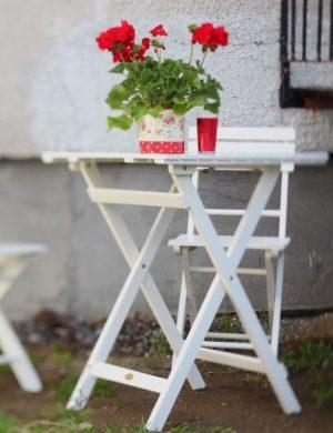 Vitmålad trädgårdsmöbel i trä med röd pelargon på bordet