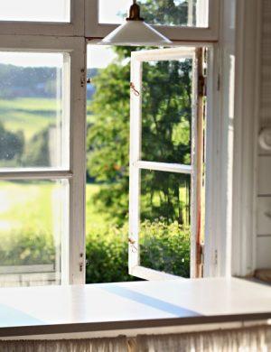 Öppet fönster ut mot sommarlandskap nedanför Claras hus.
