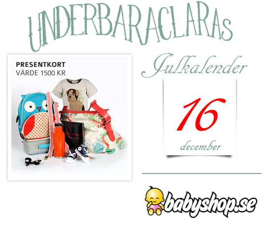 a84547a59d5 Idag är det den 16e december och bakom den 16e luckan i kalendern finns ett  presentkort på babyshop.se värde 1500 kronor.