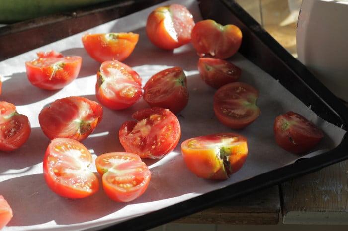 Tomathalvor på bakplåtspapper i långpanna.