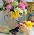 En mörk och en gul dunig kyckling på påskdukat bord.