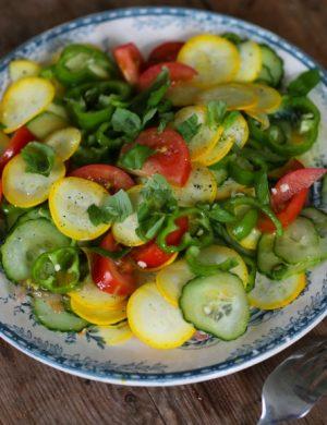 Grönsakstallrik med bland annat tomat, gurka och färska kryddor.