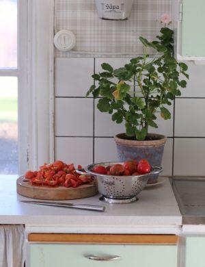 Arbetsbänk i kök med hackade tomater och höstpelargon