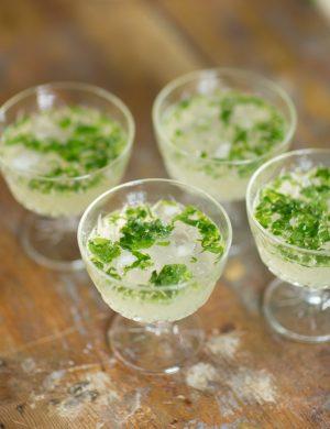 Små glas på fot med sval drink och is.