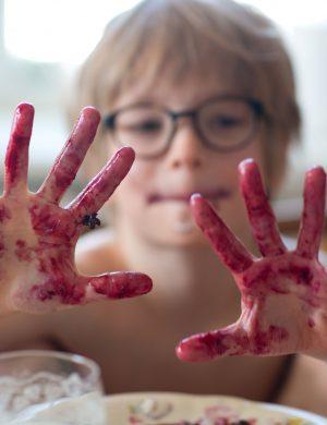 Sonen Bertil har händerna fulla av färg från blåbär och håller upp dem mot kameran.