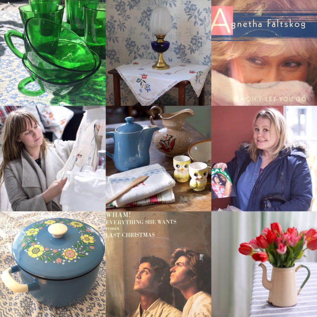 Collage av loppisfynd bland annat dukar, gröna glaskoppar, en blå emaljkastrull och bild på Clara som tittar på textilier på loppis samt Erica som bläddrar bland vinylsinglar och håller upp omslaget till hitsingeln Lambada.
