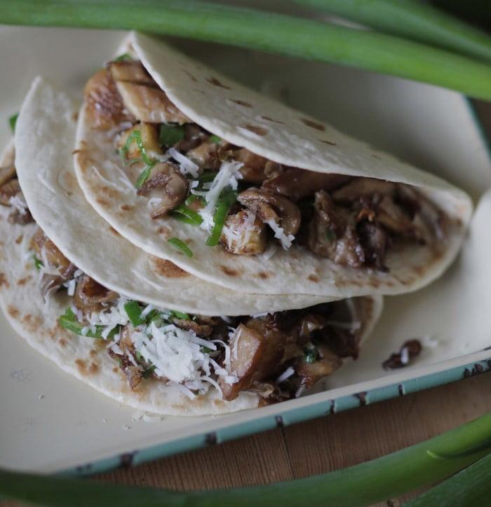 Vegetariska svampwraps av tortilliabröd på tallrik.