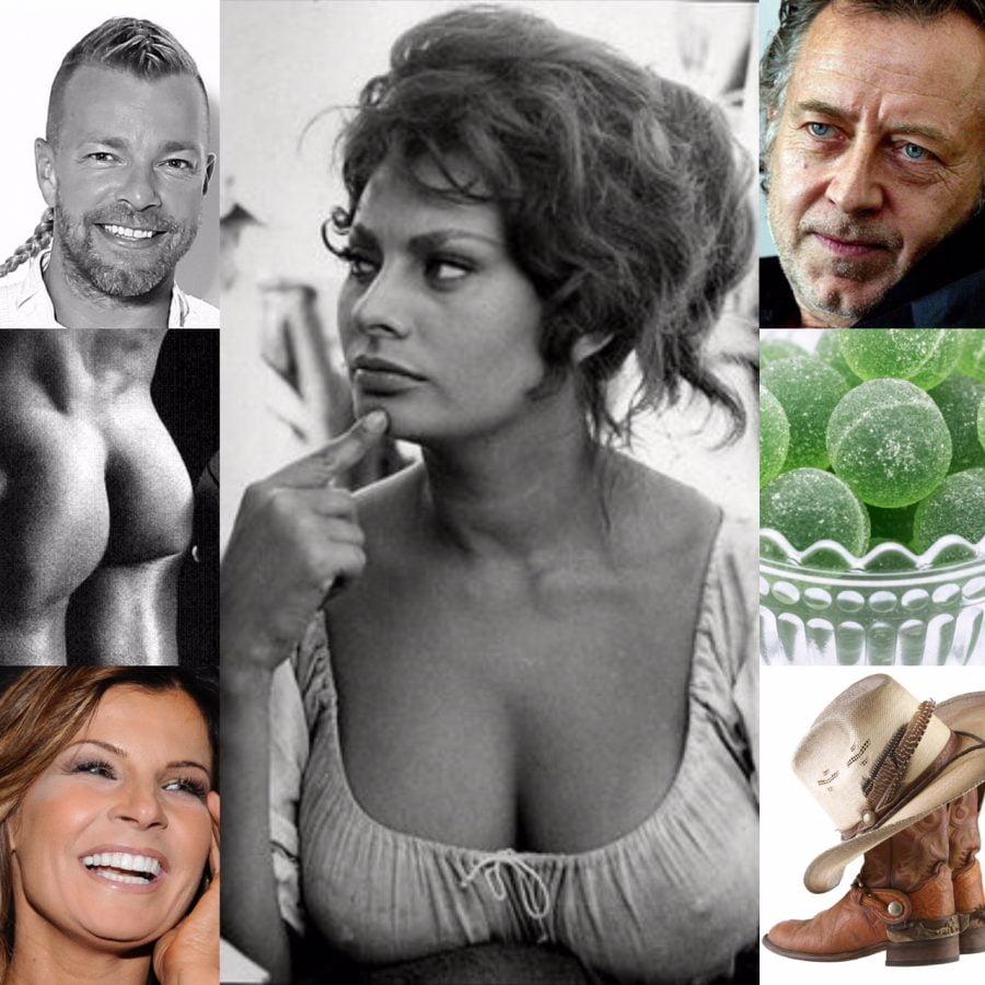 Collage med bilder på bland annat Sophia Loren, Ulf Lundell, Carola, gröna marmeladkulor med mera. Ur En Underbar Pod med Clara och Erica.
