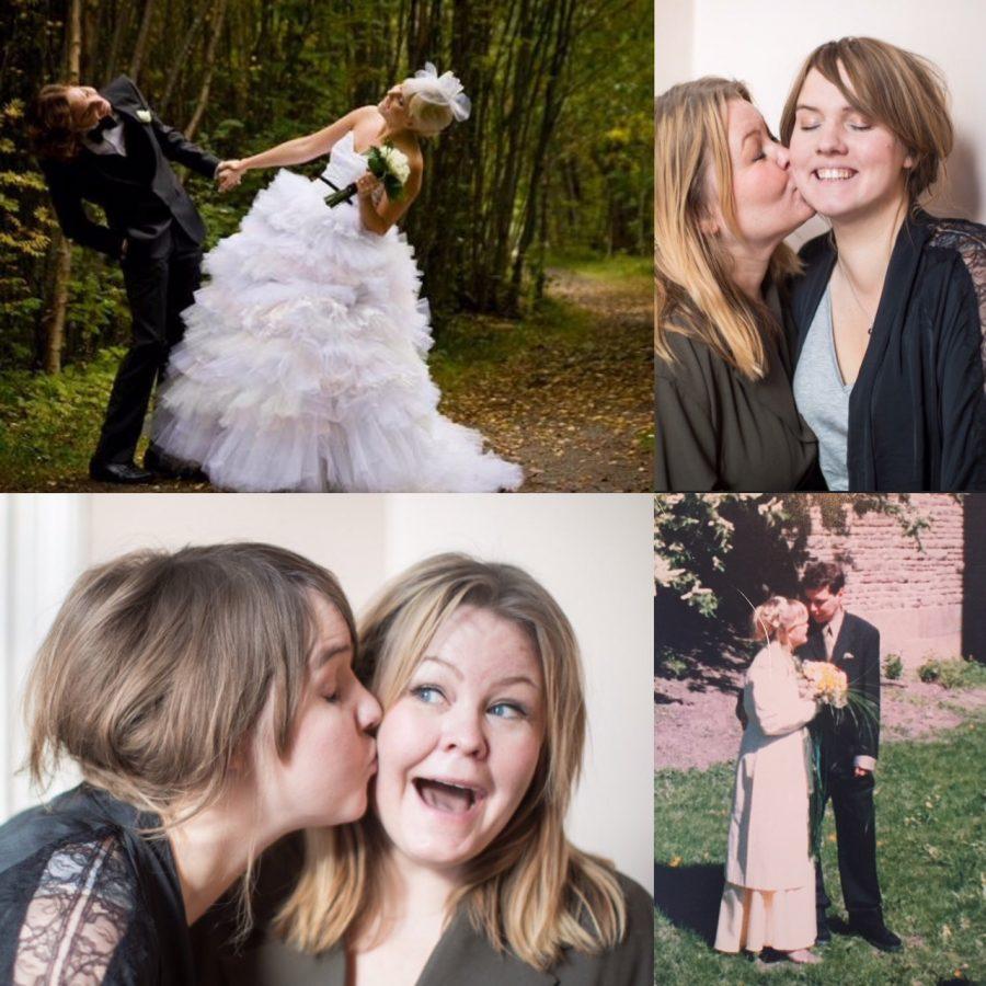 Olika bilder som visar olika sorters kärlek, bröllopsbild på Clara och Jacob som håller varandra i handen och lekfullt lutar sig som i dans. Bilder på Clara och Erica som pussas. Ur En Underbar Pod.