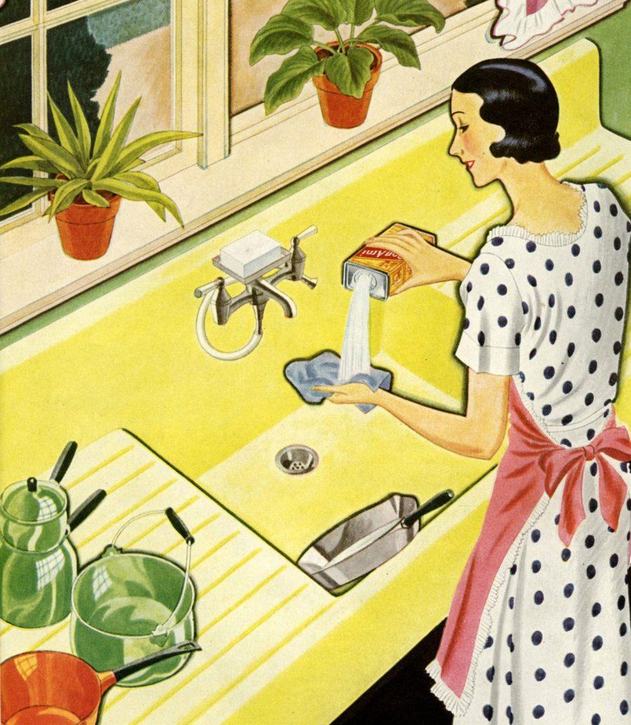 Tecknad husmor står vid diskbänk och gör hushållssysslor med rinnande vattenkran.