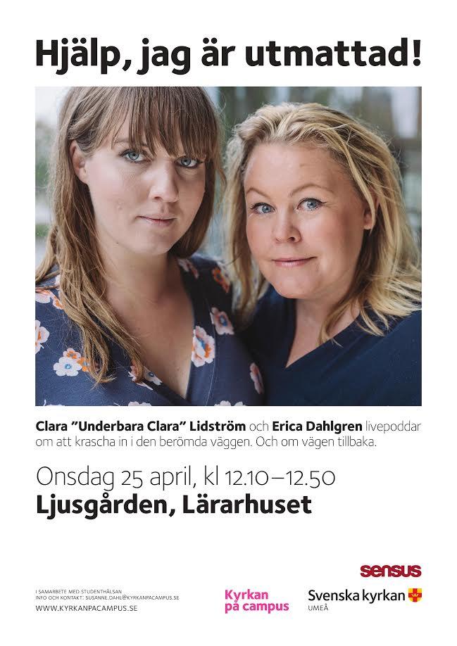 Clara och Erica på en affisch för En Underbar Pod, livepodd om boken Hjälp jag är utmattad