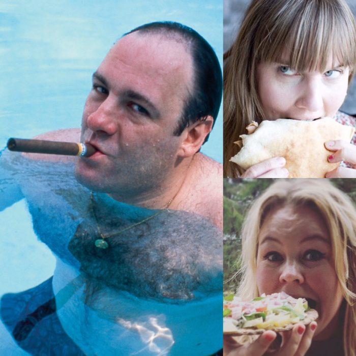 collgage av bilder på Tony Soprano som röker cigarr, Clara och Erica som äter macka/kebab. Ur En Underbar Pod.